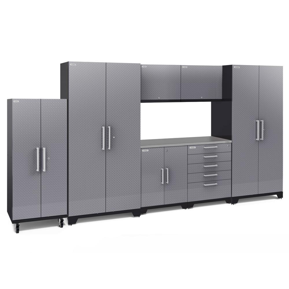 Performance Plus Diamond Plate 2.0 80 in. H x 156 in. W x 24 in. D Garage Cabinet Set in Silver (8-Piece)
