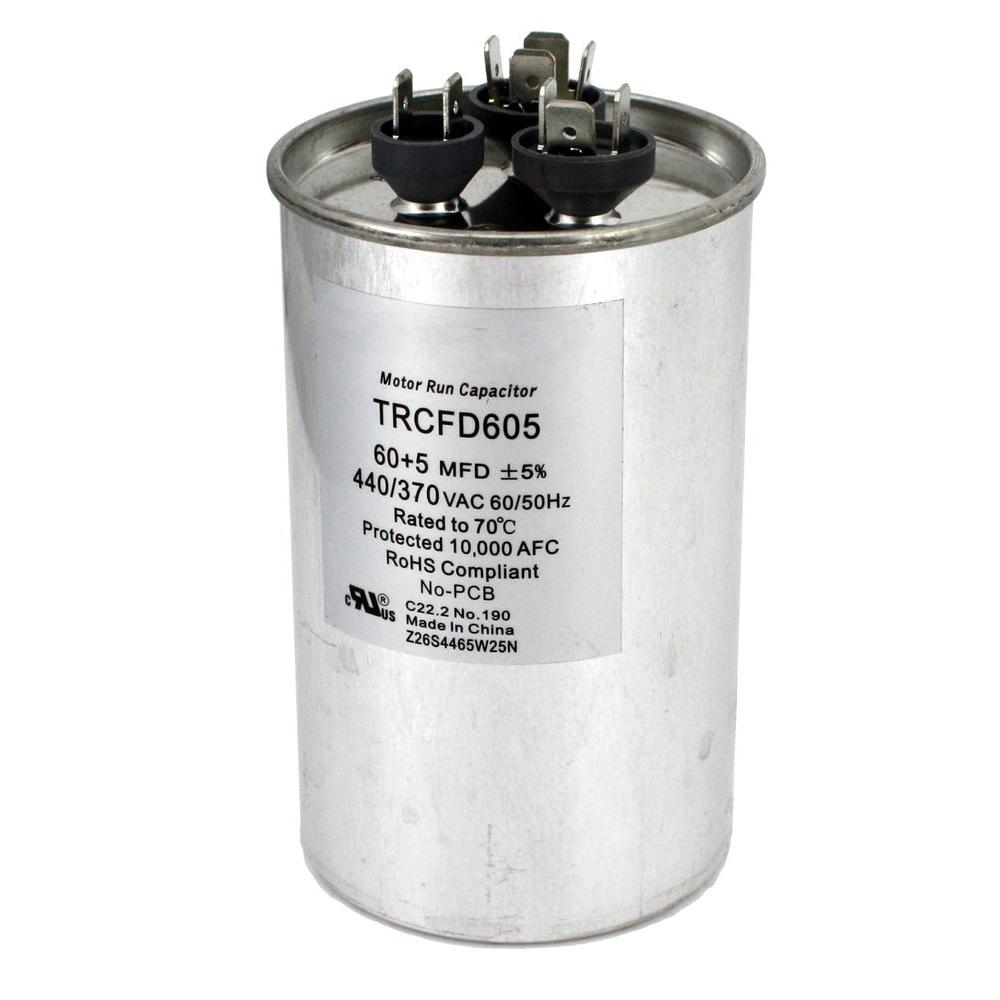 null Packard 440-Volt 60/5 MFD Dual Rated Motor Run Round Capacitor