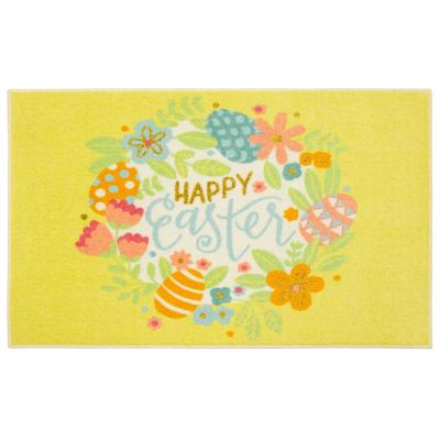 Mohawk Home Easter Wreath Multi 2 ft. x 3 ft. Yellow Theme Area Rug