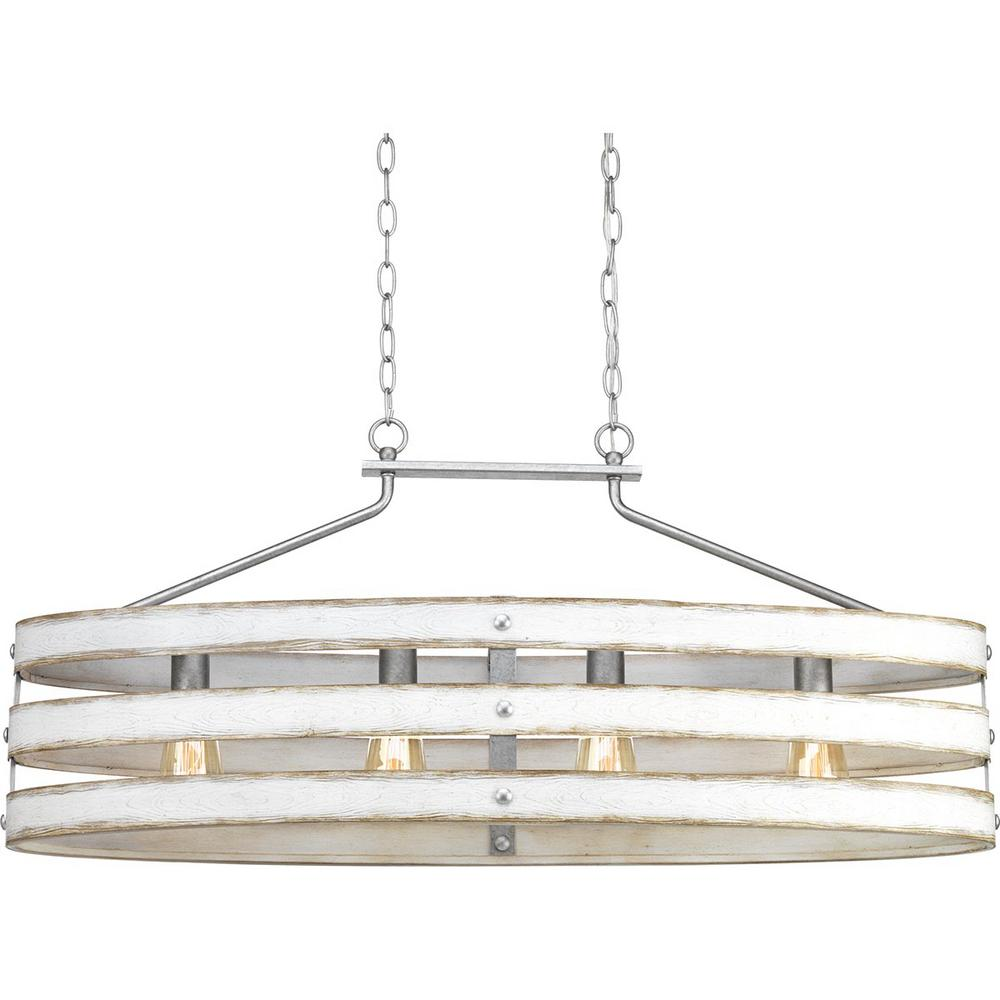 Progress Lighting Gulliver 4 Light Galvanized Island Chandelier With Weathered White Wood Accents
