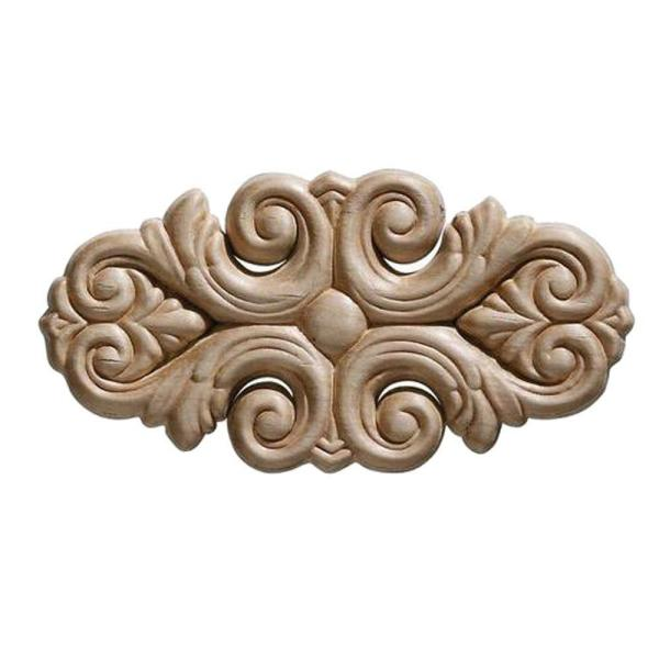 3322PK 7/32 in. x 5-1/2 in. x 2-3/4 in. Birch Acanthus Corner Onlay Ornament Moulding (2-Pack)