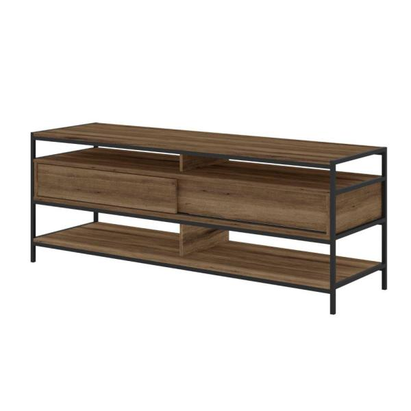 57.87 in. W Brown and Black TV Stand with 2-Drawers Fits TV's up to 58 in.