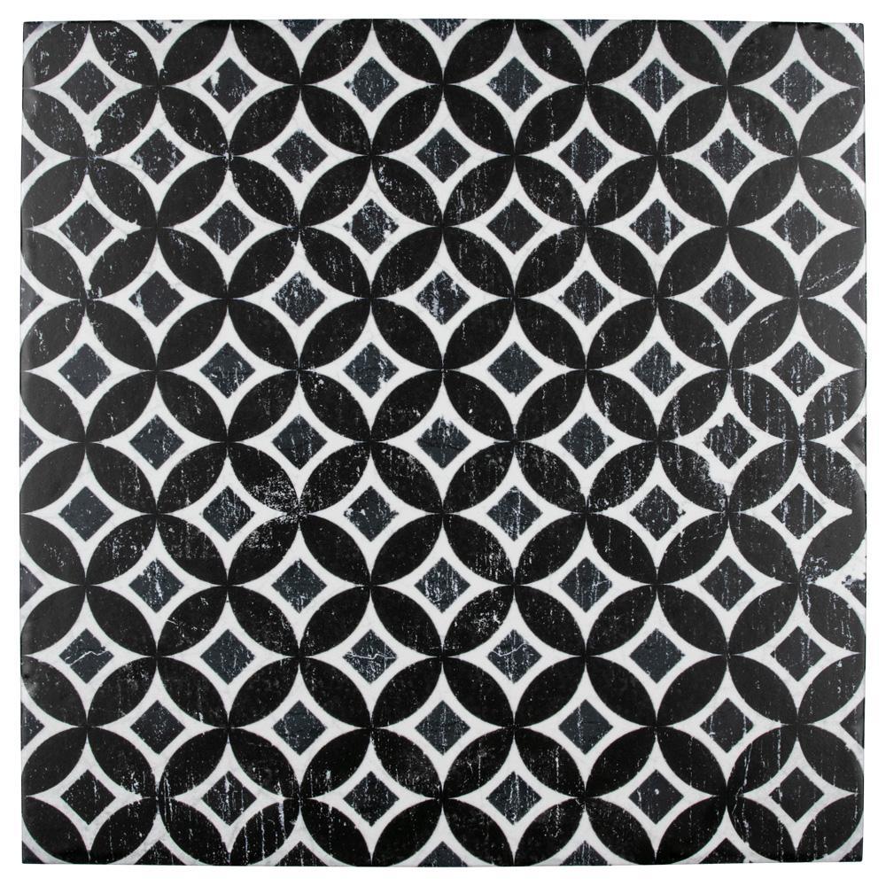 Merola Tile Dalia Nero Deco Astro Encaustic 12-1/8 in. x 12-1/8 in. Porcelain Floor and Wall Tile (15.95 sq. ft. / case)