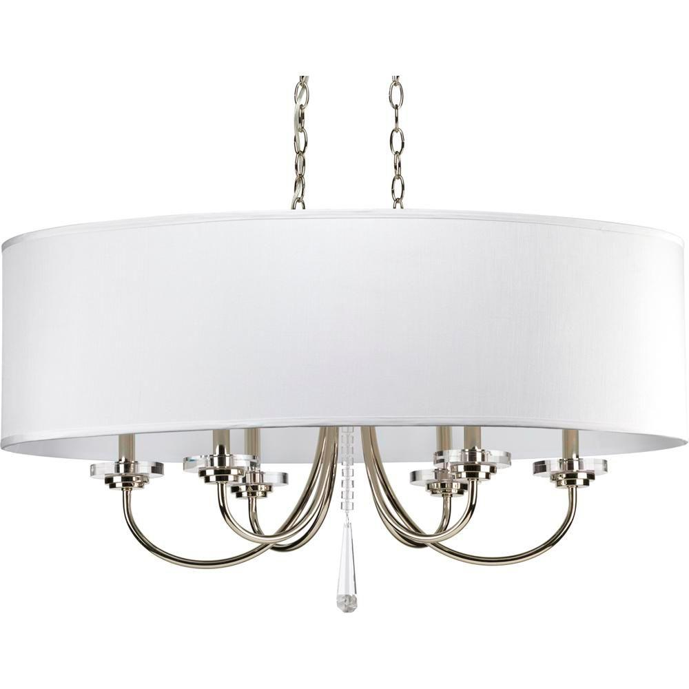 Nisse Collection 6-Light Polished Nickel Chandelier with Off-White Silk Shade