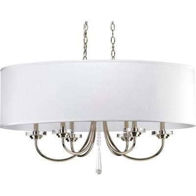 Nisse Collection 6-Light Polished Nickel Chandelier with Shade