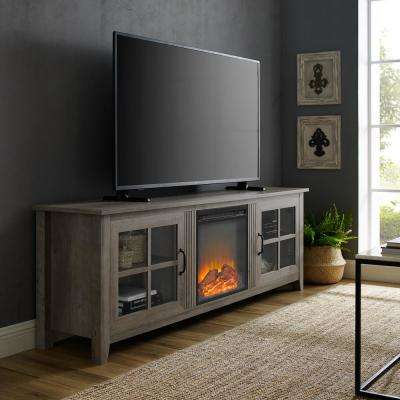 70 in. Grey Wash Farmhouse Fireplace Wood TV Stand