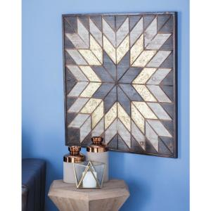 31 inch x 32 inch Yellow and Brown Wooden Snowflake Wall Decor by