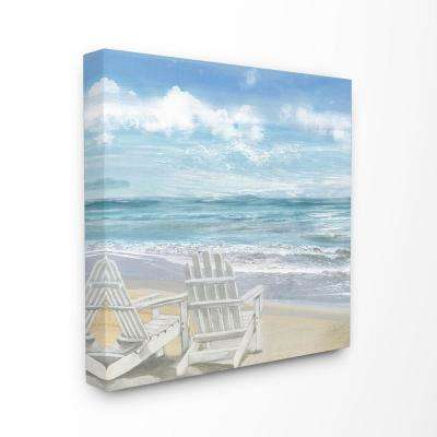"""30 in. x 30 in. """"White Adirondack Chairs on the Beach Painting""""by Artist Main Line Art & Design Canvas Wall Art"""