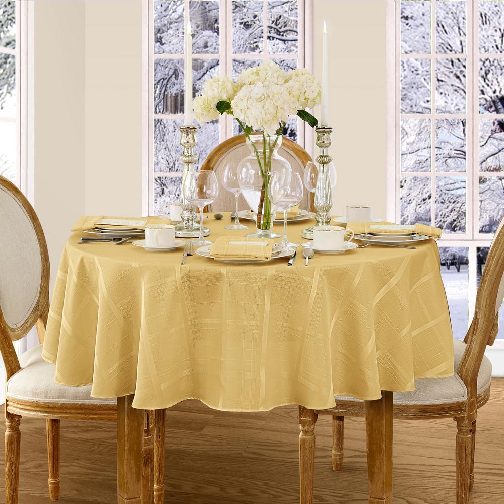 70 in. Round Ribbon Gold Elrene Elegance Plaid Damask Fabric Tablecloth
