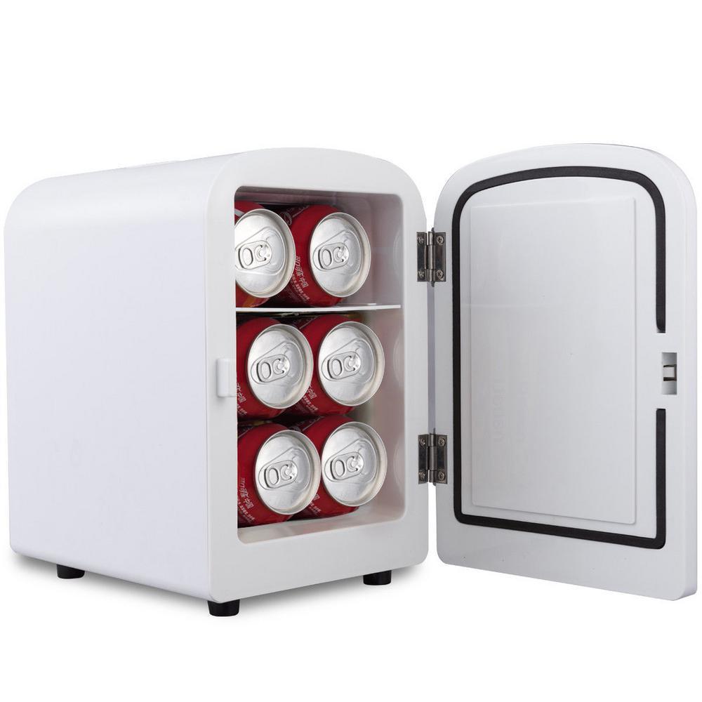 0.14 cu. ft. Portable Mini Fridge Cooler Warmer Heats 4l Auto Car Boat Home Office in White