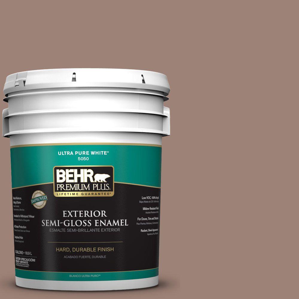 BEHR Premium Plus 5-gal. #N150-4 Modern Mocha Semi-Gloss Enamel Exterior Paint