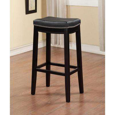 Claridge 32 in. Black Cushioned Bar Stool