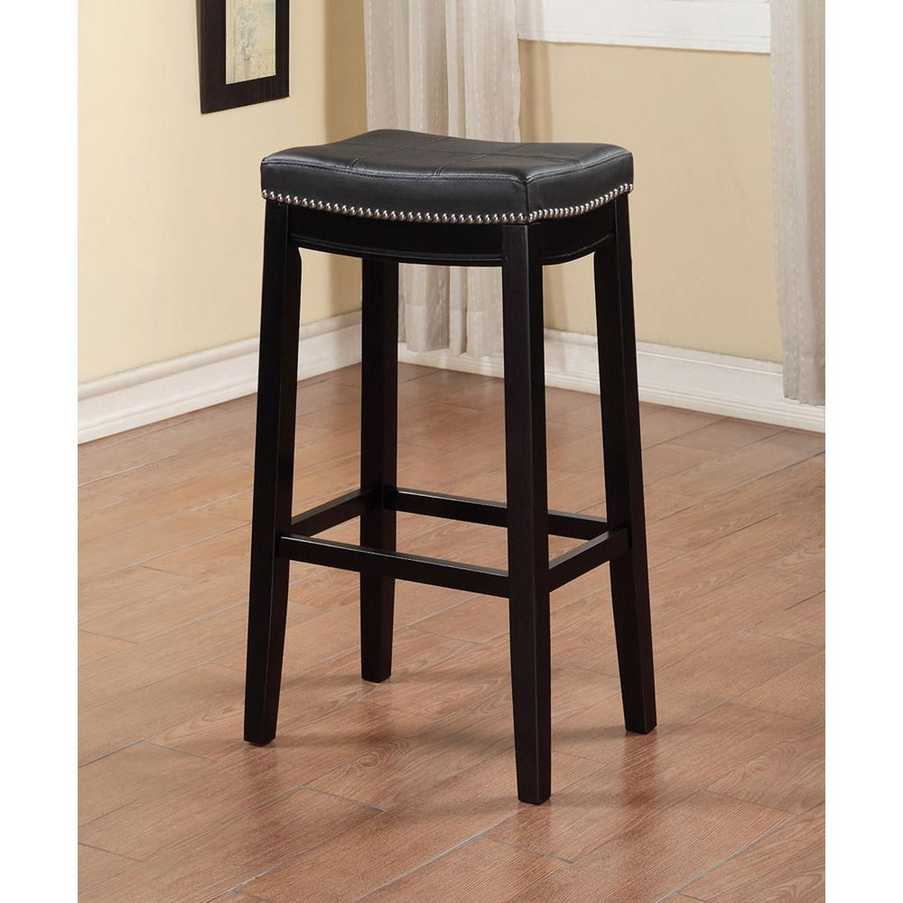 Kitchen Stools Home Depot: Linon Home Decor Claridge 30 In. Black Cushioned Bar Stool
