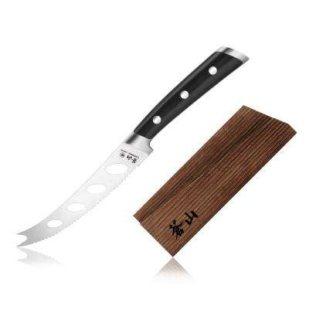 TS Series 5 in. Swedish Sandvik 14C28N Steel Forged Tomato/Cheese Knife and Wood Sheath Set
