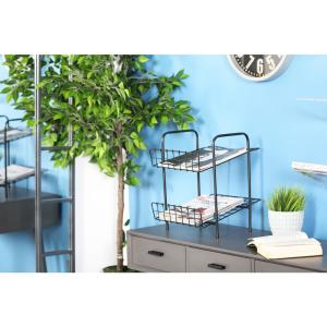 Black 2-Tier Freestanding Magazine Rack by
