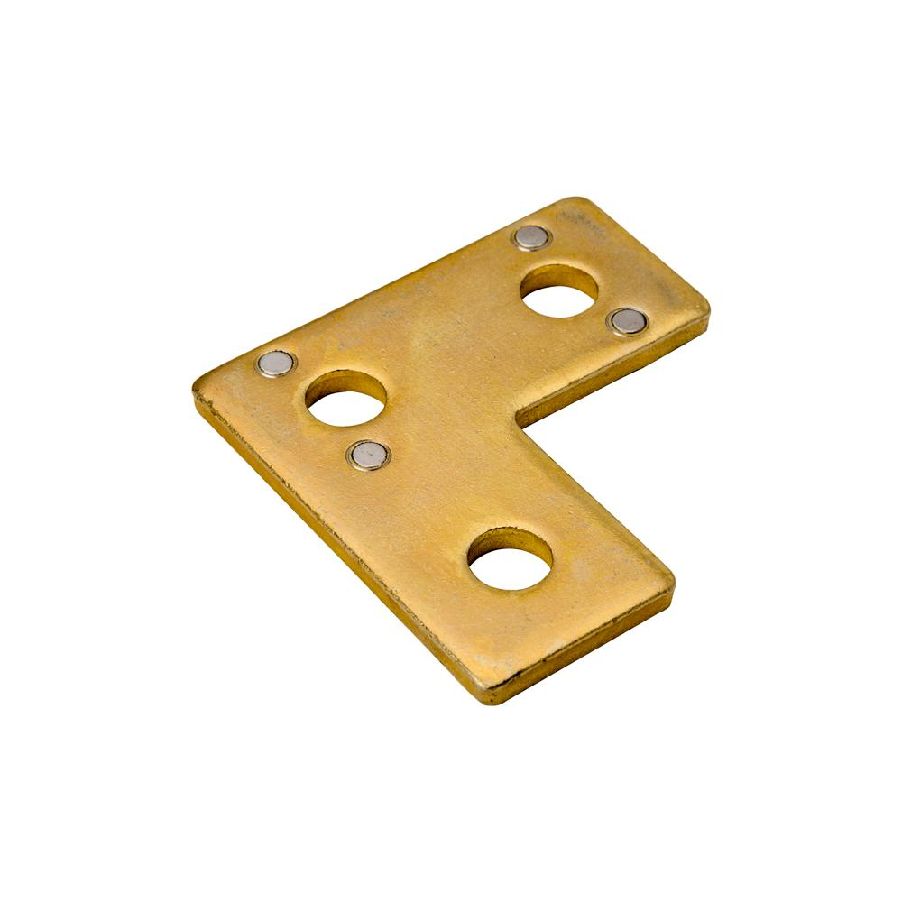 3-1/2 in. x 1-5/8 in. 3-Hole Corner Plate Gold Galvanized with