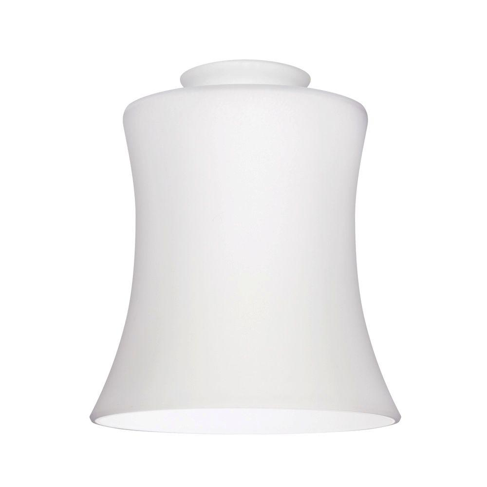 Handblown White Opal Fluted Glass Shade With 2