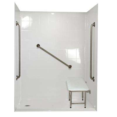 Standard Plus 36 37 in. x 60 in. x 78 in. Barrier Free Roll-In Shower Kit in White with Left Drain
