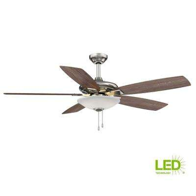 Integrated Led Indoor Low Profile Brushed Nickel Ceiling Fan With Light Kit