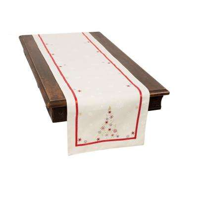 0.1 in. H x 16 in. W x 70 in. D Festive Christmas Tree Embroidered Double Layer Christmas Table Runner