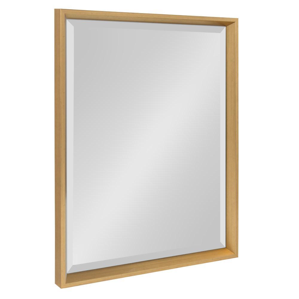 Calter 17.5 in. W x 23.5 in. H Framed Rectangular Beveled Edge Bathroom Vanity Mirror in Gold