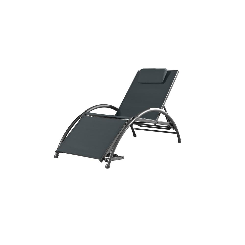 Vivere Dockside Black Aluminum Outdoor Reclining Lounge Chair with Black Sling Cushion