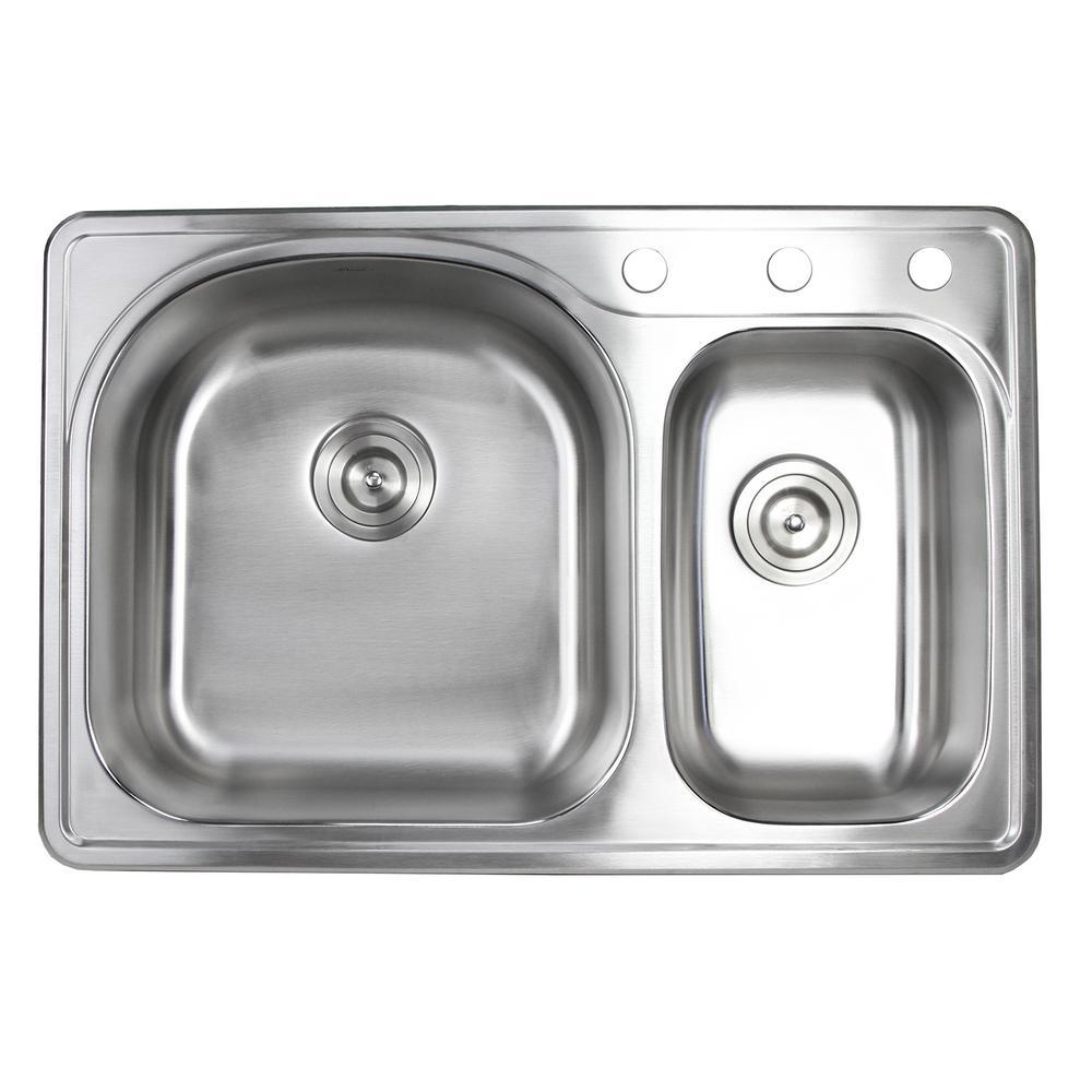 Topmount Drop-In 18-Gauge Stainless Steel 33 in. x 22 in. x 8-1/4 in. Deep 3-Faucet Holes Double Bowl 70/30 Kitchen Sink