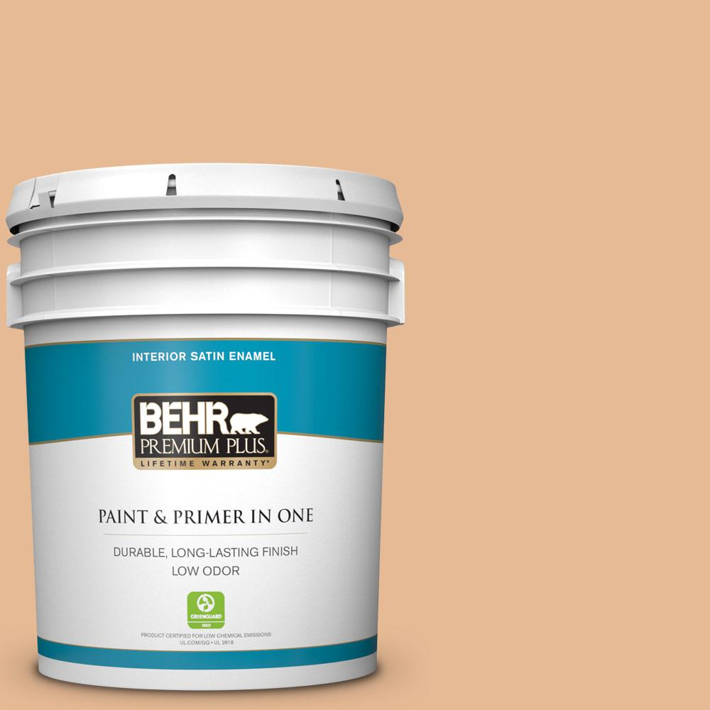Behr Premium Plus 5 Gal 280c 3 Fresh Praline Satin Enamel Low Odor Interior Paint And Primer In One 740005 The Home Depot