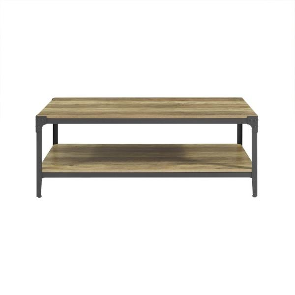 Walker Edison Furniture Company Angle Iron Rustic Wood Coffee Table Oak Hd46aictro The Home Depot