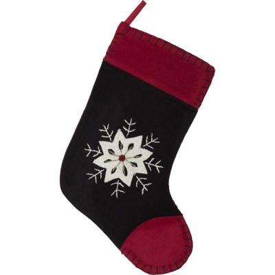 15 in. Christmas Snowflake Coal Black Traditional Decor Embroidered Felt Stocking