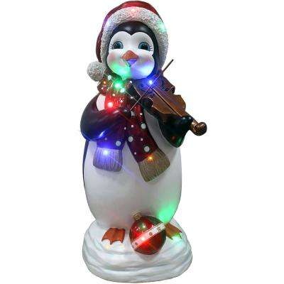 3 ft. Christmas Penguin Playing the Fiddle with Long-Lasting LED Lights