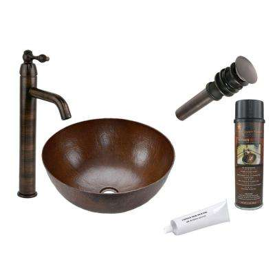 All-in-One Small Round Vessel Hammered Copper Bathroom Sink in Oil Rubbed Bronze