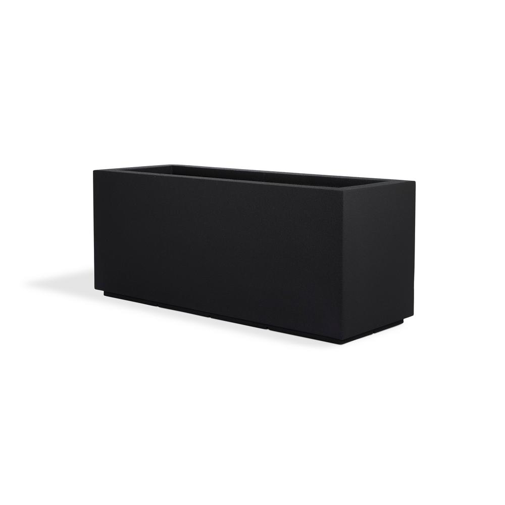 Milan Tall 46 in. x 19 in. Black Trough Composite Planter