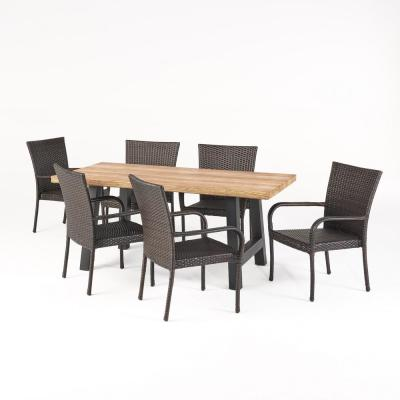 Morrison Multi-Brown 7-Piece Faux Wicker Rectangle 30 in. Outdoor Dining Set