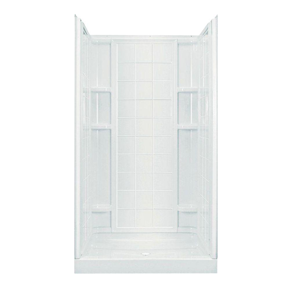 STERLING Ensemble 35-1/4 in. x 42 in. x 77 in. 4-piece Shower Stall with Age-in-Place Backers in White