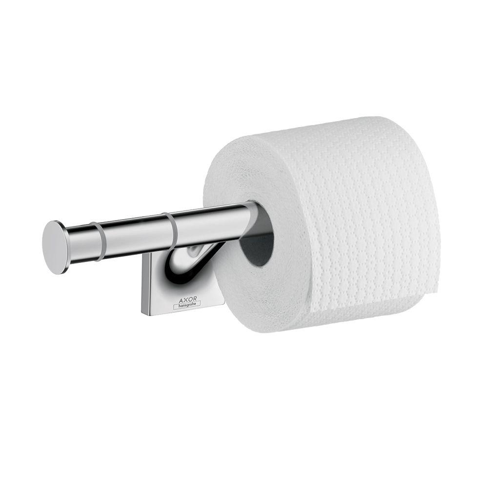 hansgrohe axor starck organic double post toilet paper holder in chrome 42736000 the home depot. Black Bedroom Furniture Sets. Home Design Ideas