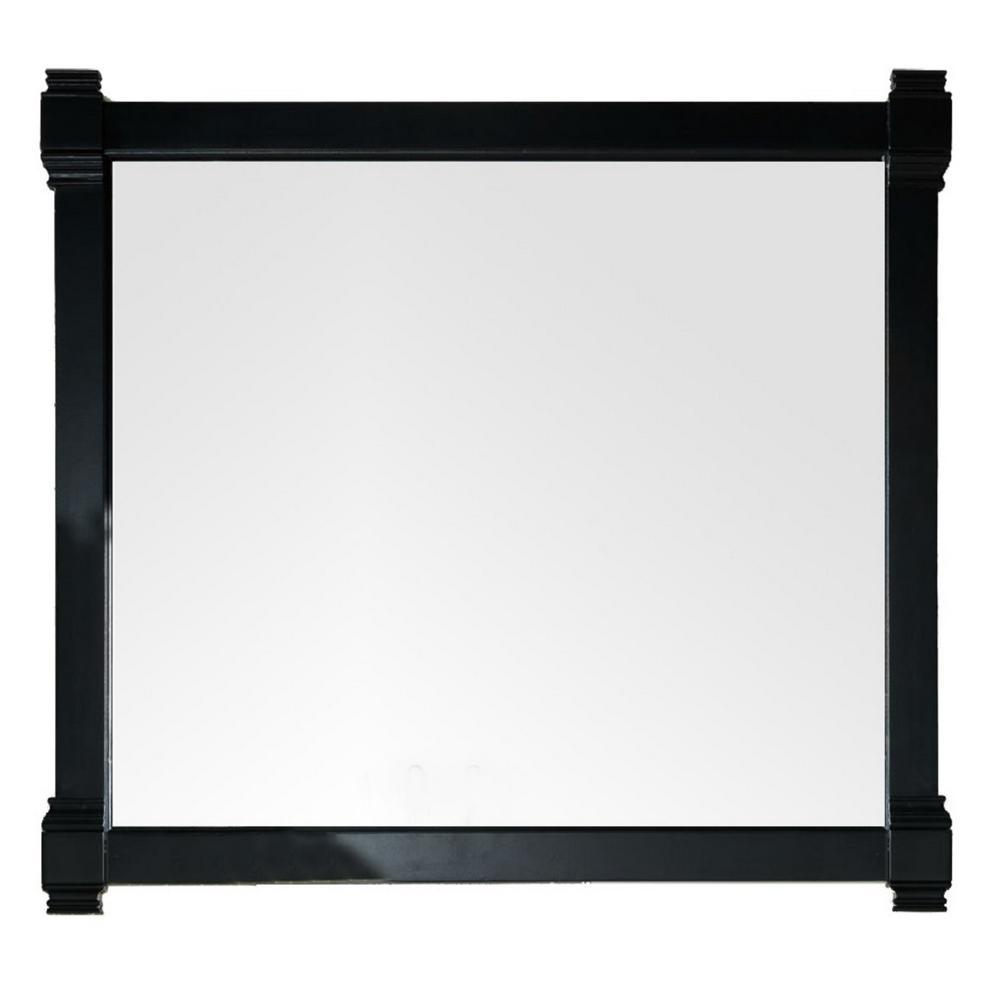 Brittany 43 in. W x 39.25 in. H Framed Wall Mirror in Black Onyx