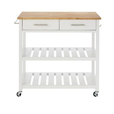 Glenville White Kitchen Cart with 2 Shelves