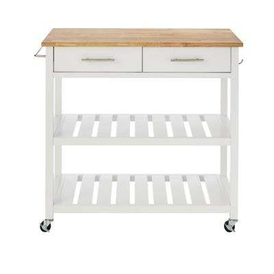 Glenville White Double Kitchen Cart