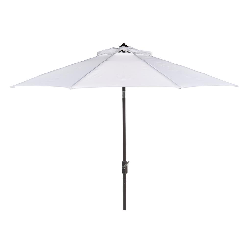 Safavieh Ortega 9 ft. Aluminum Market Auto Tilt Patio Umbrella in White