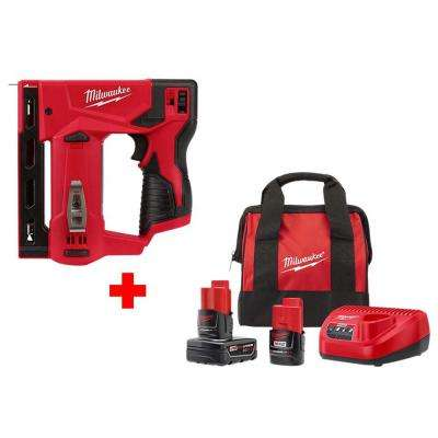 M12 12-Volt Lithium-Ion Cordless 3/8 in. Crown Stapler with One 3.0 Ah and One 1.5 Ah Battery, Charger and Bag