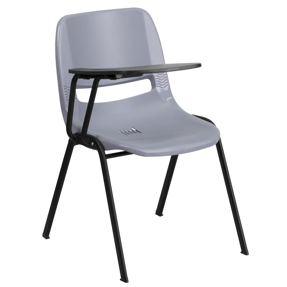 Exceptionnel Flash Furniture Gray Ergonomic Shell Chair With Right Handed Flip Up Tablet  Arm