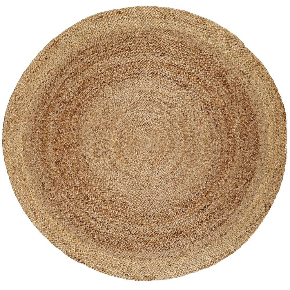 Kerala Tan Braided 8 Ft Jute Round Area Rug