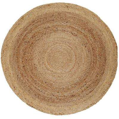 Kerala Tan Braided 8 ft. Jute Round Area Rug