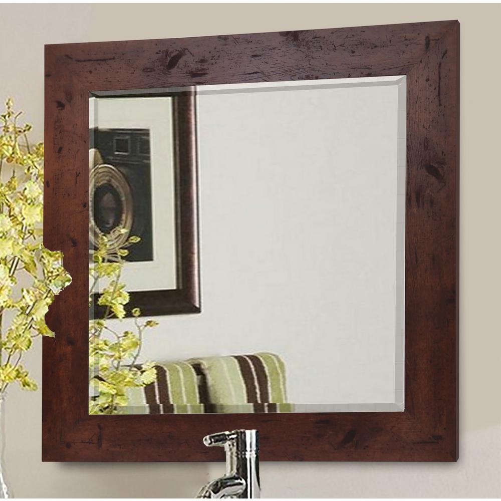 Rustic dark walnut beveled vanity wall mirror