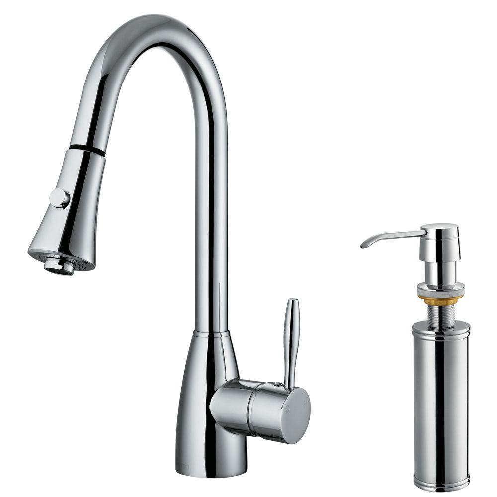 Vigo Single-Handle Pull-Out Spray Kitchen Faucet with Soap Dispenser in Chrome-DISCONTINUED