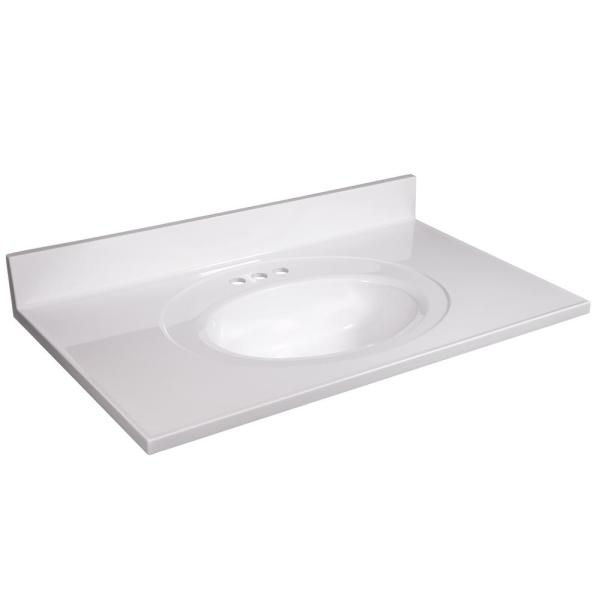 37 in. W x 22 in. D Cultured Marble Vanity Top in White with Solid White Bowl