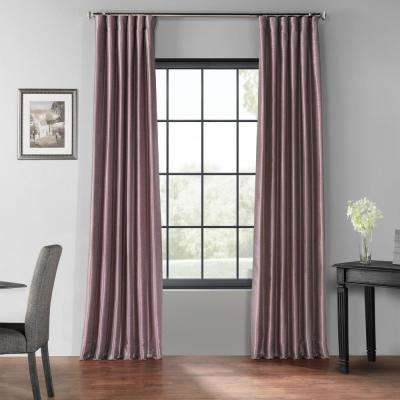 Smokey Plum Purple Blackout Vintage Textured Faux Dupioni Curtain - 50 in. W x 96 in. L