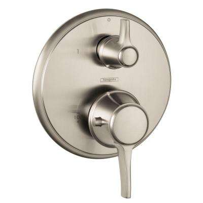 Metris C 2-Handle Thermostatic Valve Trim Kit with Volume Control in Brushed Nickel (Valve Not Included)