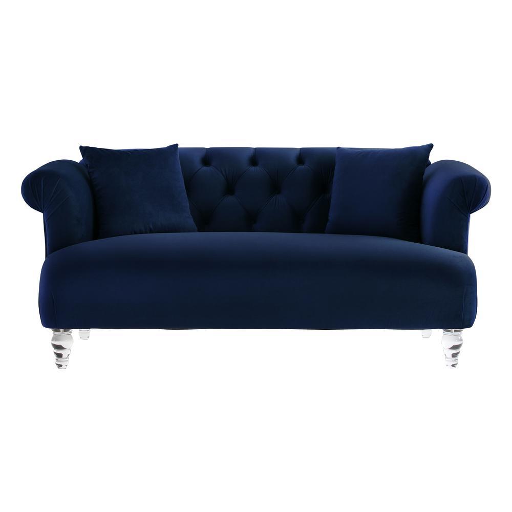 Elegance Blue Velvet Contemporary  with Acrylic Legs Loveseat